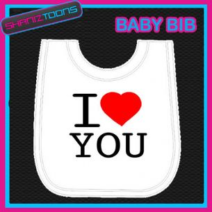 I LOVE HEART YOU MUMMY DADDY NEW BORN WHITE BABY BIB EMBROIDERED GIFT